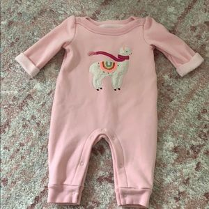 Pink long sleeve/pant onesie outfit size 0-3months